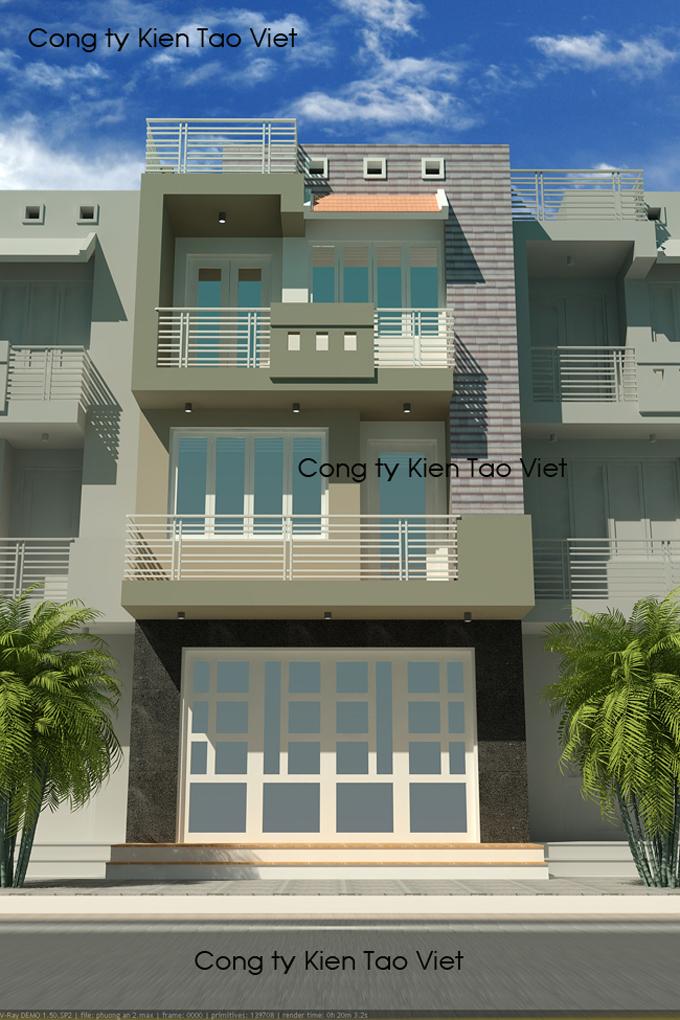 Mẫu nhà phố 3 tầng 5x30m kinh doanh nhà nghỉ tại Nhổn, Hà Nội – Phối cảnh 01