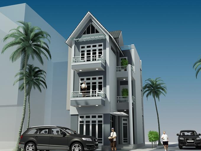 Mẫu nhà phố hiện đại 3 tầng 7x11m tại Lĩnh Nam, Hà Nội – Phối cảnh 01
