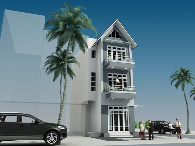 Mẫu nhà phố hiện đại 3 tầng 7x11m tại Lĩnh Nam, Hà Nội – Phối cảnh 02