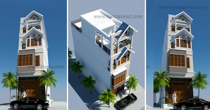 Mẫu nhà phố 4 tầng 1 lửng 4x20m tại Yên Bái – Phối cảnh