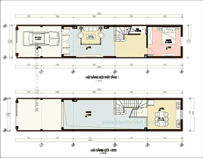 Mẫu nhà phố 4 tầng 1 lửng 4x20m tại Yên Bái – Mặt bằng tầng 1+lửng