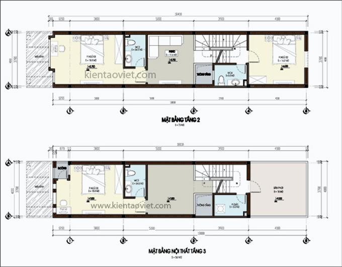 Mẫu nhà phố 4 tầng 1 lửng 4x20m tại Yên Bái – Mặt bằng tầng 2+3