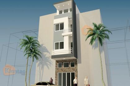 Mẫu nhà phố 4 tầng 3x10,5m tại Hai Bà Trưng, Hà Nội – Phối cảnh 01