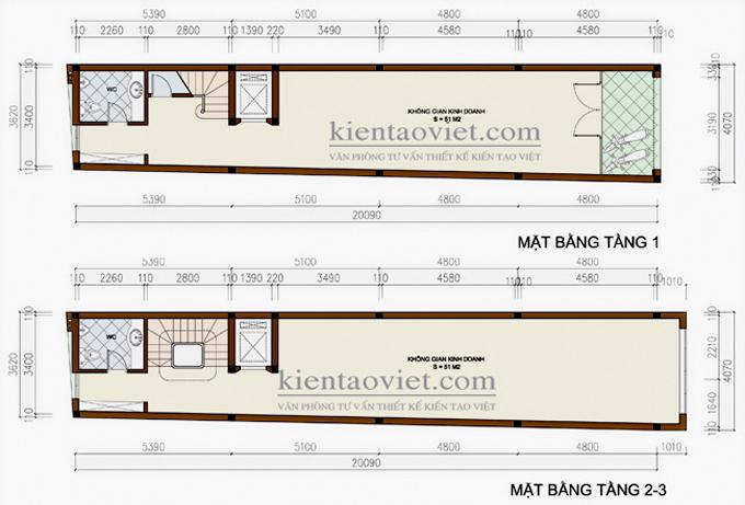 Mẫu nhà phố 6 tầng 4x20m cho thuê kinh doanh tại Hà Nội  – Mặt bằng tầng 1+2+3