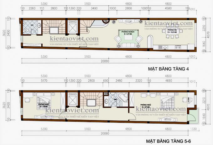 Mẫu nhà phố 6 tầng 4x20m cho thuê kinh doanh tại Hà Nội  – Mặt bằng tầng 4+5+6