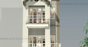 Mẫu nhà phố cách tân 4 tầng 5,2x13,2m tại Hoàng Mai, Hà Nội – Phối cảnh 01