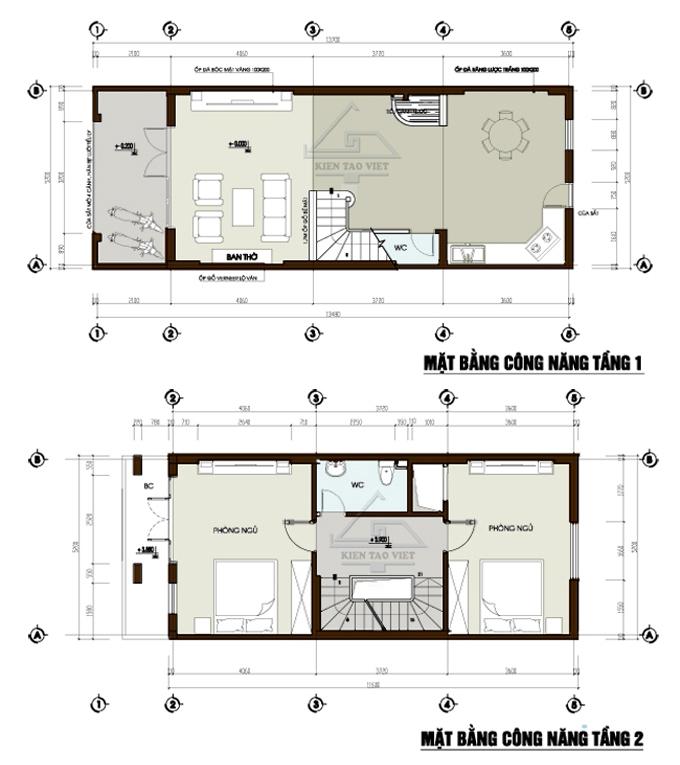 Mẫu nhà phố cách tân 4 tầng 5,2x13,2m tại Hoàng Mai, Hà Nội – Mặt bằng tầng 1+2