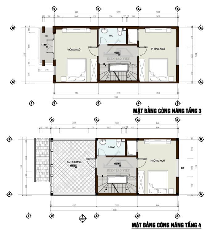 Mẫu nhà phố cách tân 4 tầng 5,2x13,2m tại Hoàng Mai, Hà Nội – Mặt bằng tầng 3+4