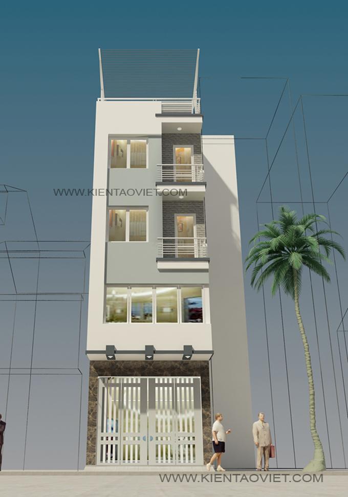 Mẫu nhà phố chữ L 5 tầng 4,5x8x7,5m tại Thụy Khuê Hà Nội – Phối cảnh 02