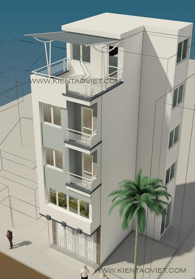 Mẫu nhà phố chữ L 5 tầng 4,5x8x7,5m tại Thụy Khuê Hà Nội – Phối cảnh 03