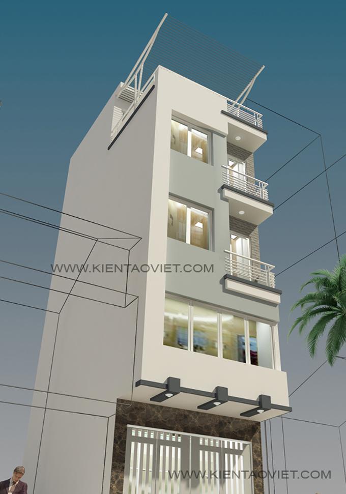Mẫu nhà phố chữ L 5 tầng 4,5x8x7,5m tại Thụy Khuê Hà Nội – Phối cảnh 04