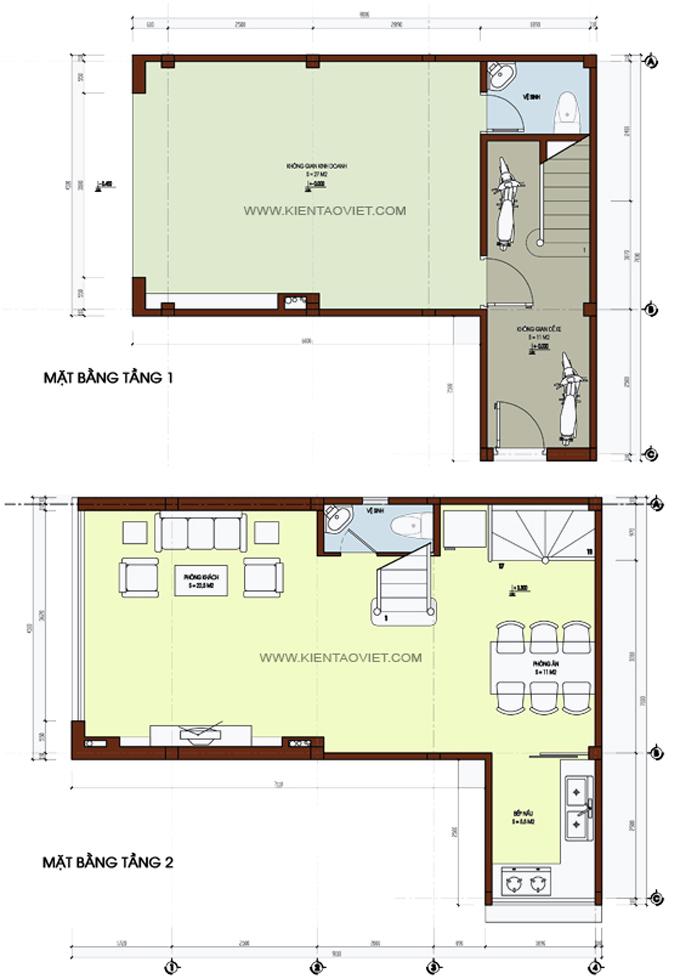 Mẫu nhà phố chữ L 5 tầng 4,5x8x7,5m tại Thụy Khuê Hà Nội – Mặt bằng tầng 1+2