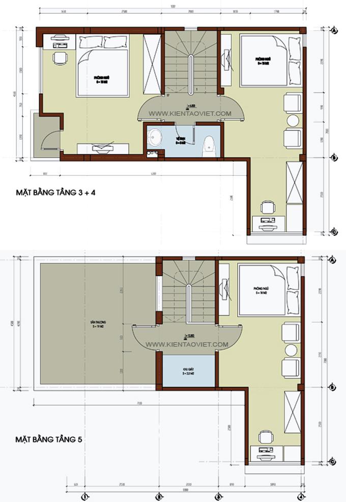 Mẫu nhà phố chữ L 5 tầng 4,5x8x7,5m tại Thụy Khuê Hà Nội – Mặt bằng tầng 3+4+5
