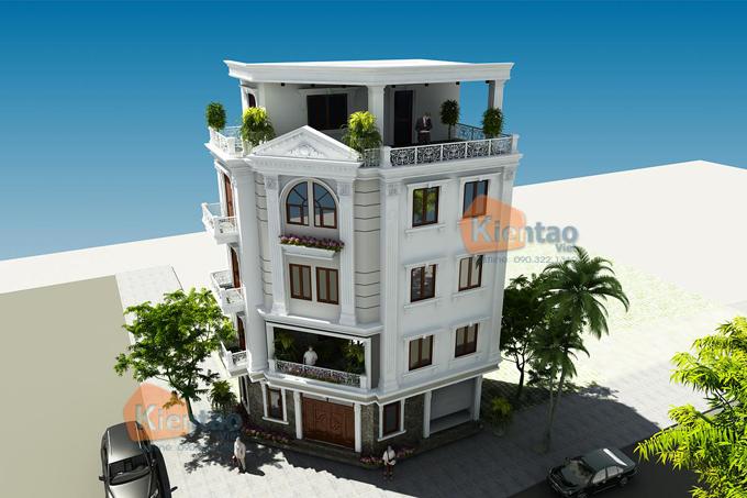 Mẫu nhà phố lô góc 5 tầng 6,6x10,9m tại Tân Triều, Thanh Trì, Hà Nội - Phối cảnh 02