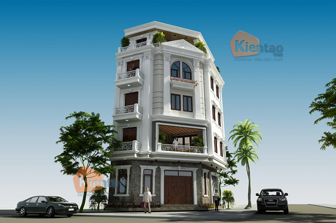 Mẫu nhà phố lô góc 5 tầng 6,6x10,9m tại Tân Triều, Thanh Trì, Hà Nội - Phối cảnh 03