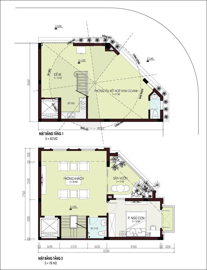 Mẫu nhà phố lô góc 5 tầng 6,6x10,9m tại Tân Triều, Thanh Trì, Hà Nội - Mặt bằng tầng 1+2