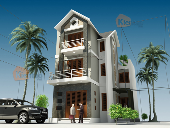 Mẫu thiết kế biệt thự 3 tầng 60m2 tại Hà Nam - Phối cảnh 01