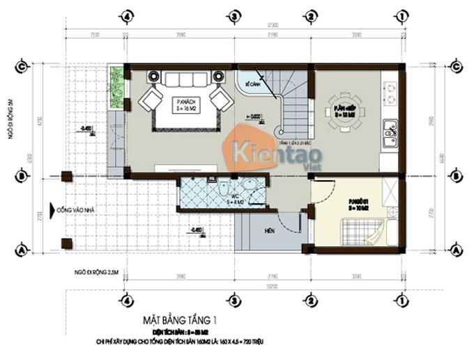 Mẫu thiết kế biệt thự đẹp 3 tầng 60m2 tại Hà Nam - Mặt bằng tầng 1