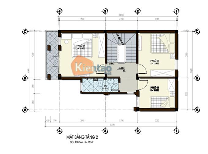 Mẫu thiết kế biệt thự 3 tầng 60m2 tại Hà Nam - Mặt bằng tầng 2
