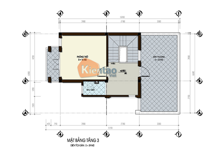 Mẫu thiết kế biệt thự 3 tầng 60m2 tại Hà Nam - Mặt bằng tầng 3