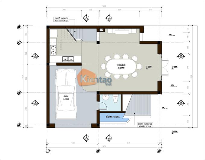 Nhà biệt thự 3 tầng 70m2 tại Vân Đình, Hà Nội - Mặt bằng tầng 1