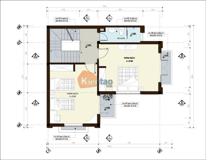 Nhà biệt thự 3 tầng 70m2 tại Vân Đình, Hà Nội - Mặt bằng tầng 3
