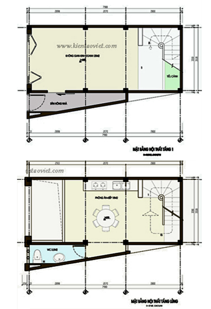 Nhà phố 4 tầng 33m2 đất méo 2 mặt tiền tại Thanh Xuân, Hà Nội - Mặt bằng tầng 1+2