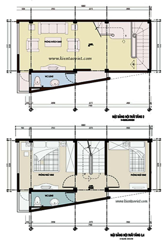 Nhà phố 4 tầng 33m2 đất méo 2 mặt tiền tại Thanh Xuân, Hà Nội - Mặt bằng tầng 3+4