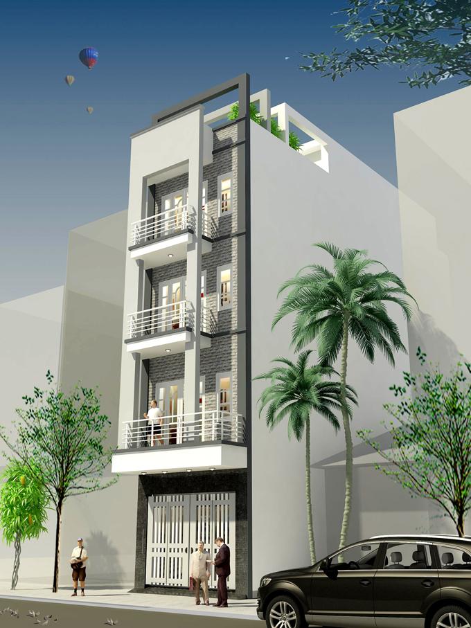 Nhà phố 4 tầng 6x11m lệch tầng tại Hoàng Mai, Hà Nội – Phối cảnh 01