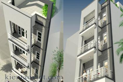 Nhà phố 4 tầng 6x11m lệch tầng tại Hoàng Mai, Hà Nội – Phối cảnh 02