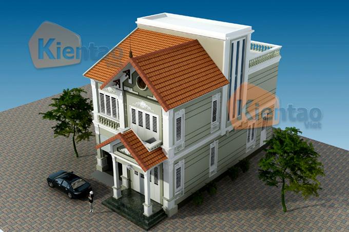 Thiết kế biệt thự 2,5 tầng 103m2 tại Thái Bình - Phối cảnh kiến trúc 01