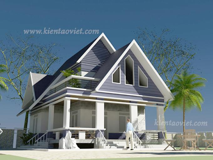 Thiết kế biệt thự vườn 2 tầng 80m2 tại Sơn Tây, Hà Nội - Phối cảnh 01