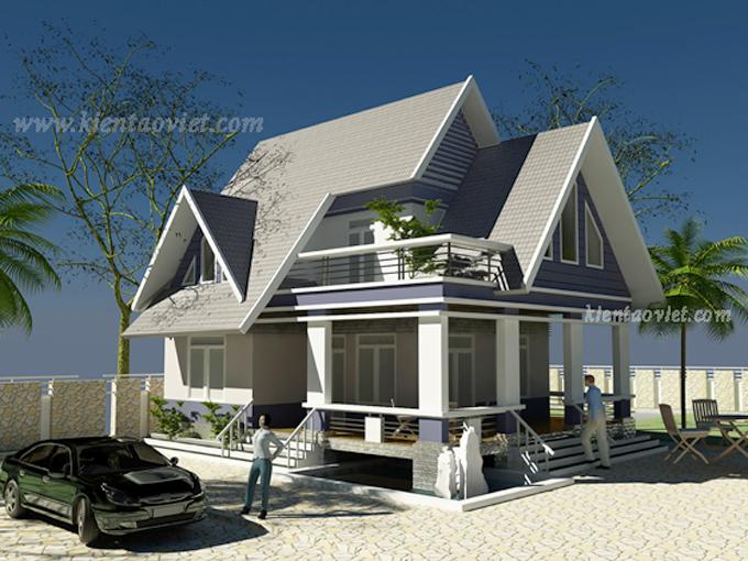Thiết kế biệt thự vườn 2 tầng 80m2 tại Sơn Tây, Hà Nội - Phối cảnh 02