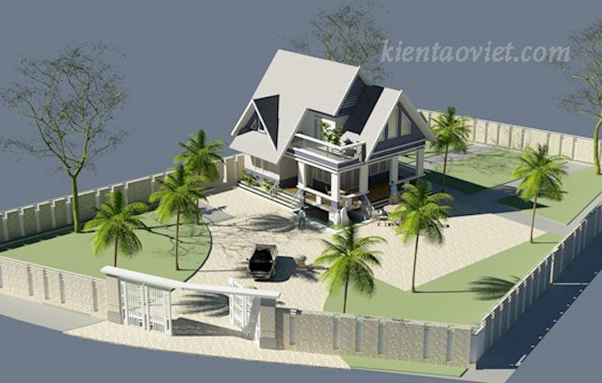 Thiết kế biệt thự vườn 2 tầng 80m2 tại Sơn Tây, Hà Nội - Phối cảnh 03
