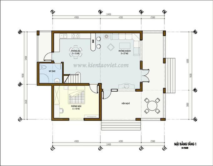Thiết kế biệt thự vườn 2 tầng 80m2 tại Sơn Tây, Hà Nội - Mặt bằng tầng 1