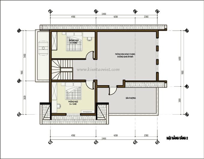 Thiết kế biệt thự vườn 2 tầng 80m2 tại Sơn Tây, Hà Nội - Mặt bằng tầng 2