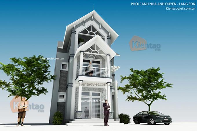 Thiết kế nhà biệt thự 3 tầng 120m2 tại Lạng Sơn - Phối cảnh 01