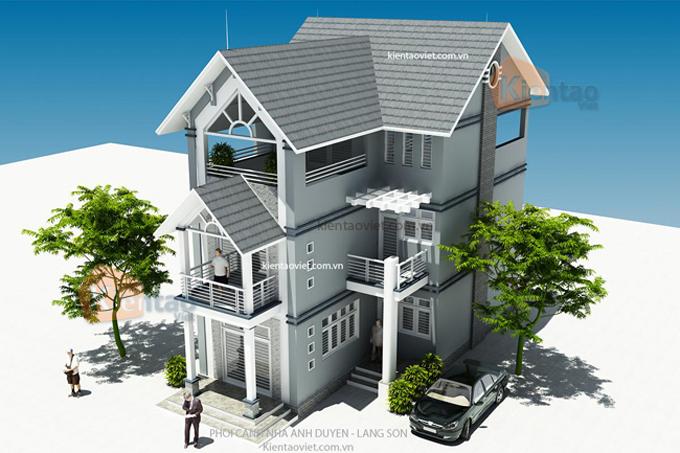 Thiết kế nhà biệt thự 3 tầng 120m2 tại Lạng Sơn - Phối cảnh 03