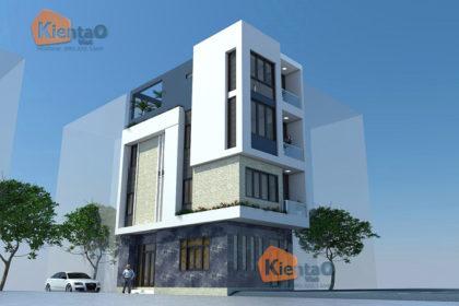 Thiết kế nhà phố 2 mặt tiền 4 tầng 5,3x9,7m hiện đại - Phối cảnh 01