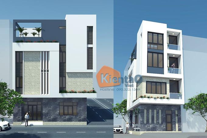 Thiết kế nhà phố 2 mặt tiền 4 tầng 5,3x9,7m hiện đại - Phối cảnh 02