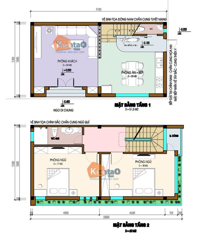 Thiết kế nhà phố 2 mặt tiền 4 tầng 5,3x9,7m hiện đại - Mặt bằng tầng 1+2