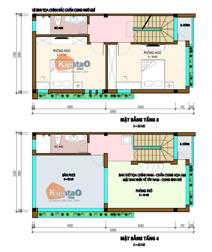 Thiết kế nhà phố 2 mặt tiền 4 tầng 5,3x9,7m hiện đại - Mặt bằng tầng 3+4