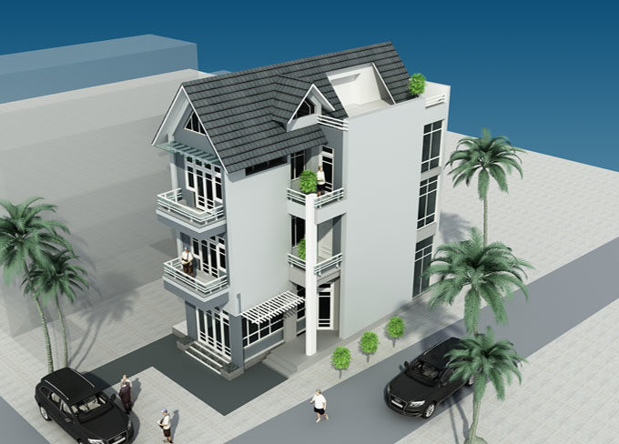PC2- Thiết kế nhà phố 3 tầng giả biệt thự tại Lĩnh Nam Hà Nội