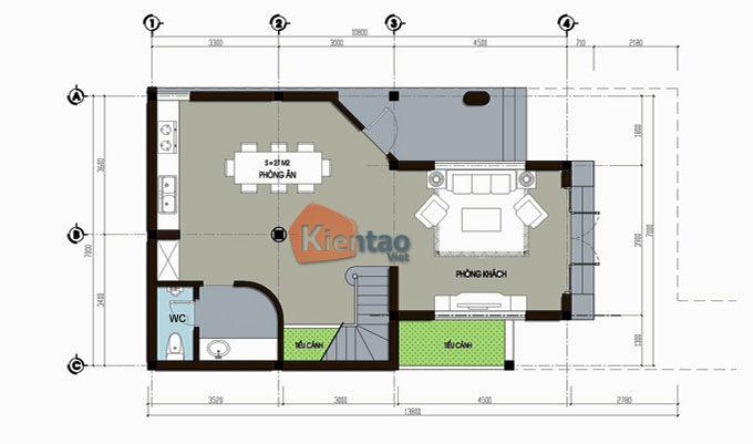 MB1- Thiết kế nhà phố 3 tầng 7x11m tuyệt đẹp tại Lĩnh Nam