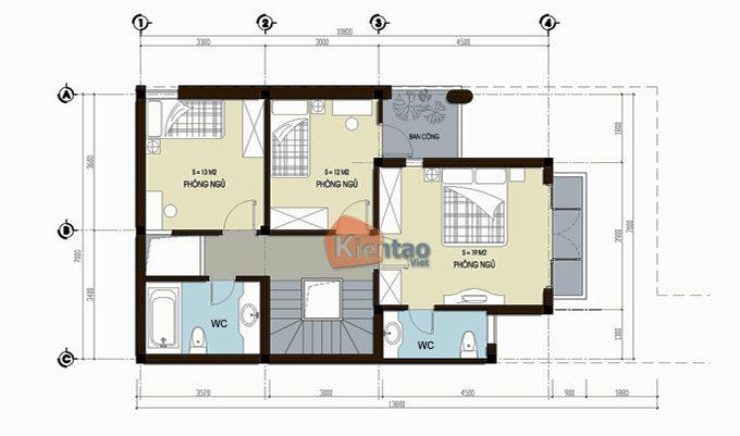 MB2 - Thiết kế nhà phố 3 tầng mặt tiền 7m tại Lĩnh Nam