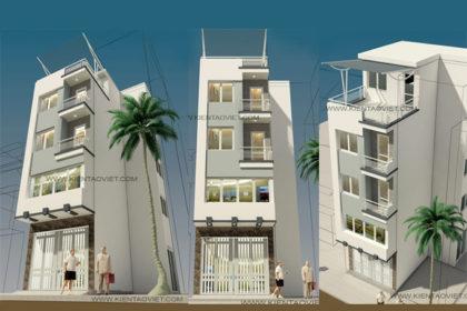 Mẫu nhà phố chữ L 5 tầng 4,5x8x7,5m tại Thụy Khuê Hà Nội – Phối cảnh tổng thể