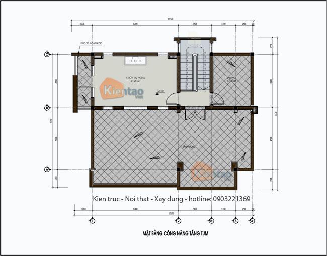 Công năng tầng tum- Mẫu nhà biệt thự đẹp 2.5 tầng 120m2