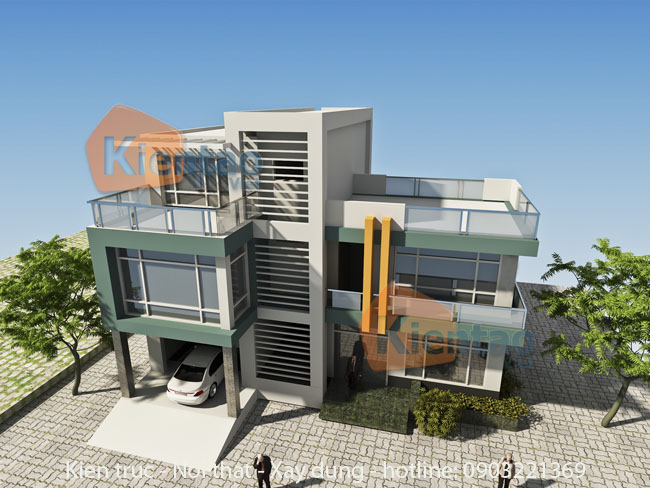 Thiết kế biệt thự 2 tầng 100m2 hiện đại tại Bắc Ninh - Phối cảnh 1