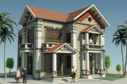 Mặt tiền chính - Thiết kế biệt thự 2 tầng kiểu Pháp 85m2 tại Vân Canh