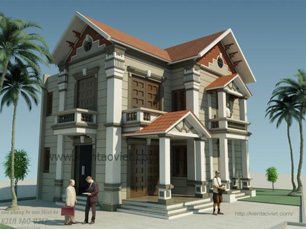 Mặt góc - Mẫu biệt thự 2 tầng kiểu Pháp 85m2 tại Vân Canh
